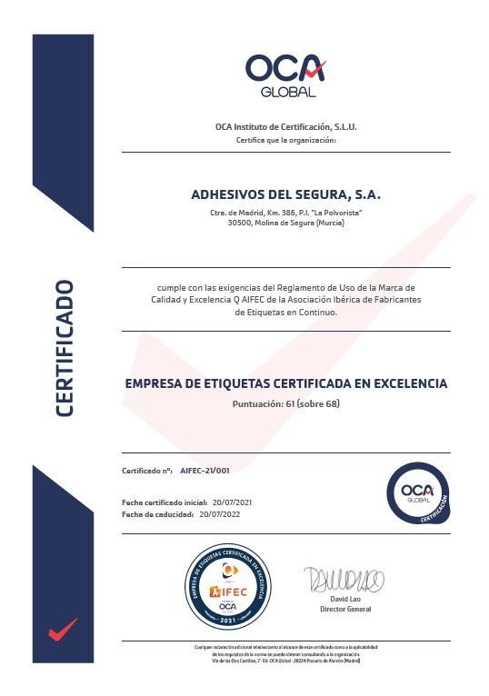 Certificado sello de excelencia QAIFEC
